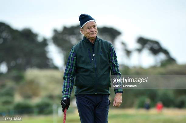 Actor Bill Murray on the 13th hole during Day two of the Alfred Dunhill Links Championship at Carnoustie Golf Links on September 27 2019 in St...