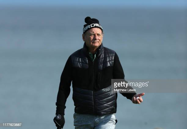 Actor Bill Murray on the 4th hole during Day three of the Alfred Dunhill Links Championship at Kingsbarns Golf Links on September 28 2019 in St...