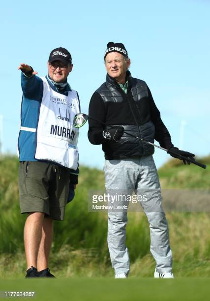 Actor Bill Murray on the 4th tee during Day three of the Alfred Dunhill Links Championship at Kingsbarns Golf Links on September 28 2019 in St...