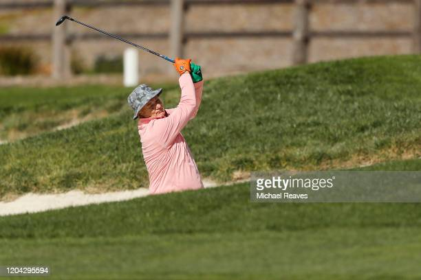 Actor Bill Murray plays a shot on the second hole during the 3M Celebrity Challenge prior to the ATT Pebble Beach ProAm at Pebble Beach Golf Links on...