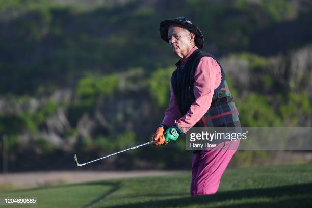 Actor Bill Murray plays a shot on the tenth hole during the second round of the ATT Pebble Beach ProAm at Monterey Peninsula Country Club on February...