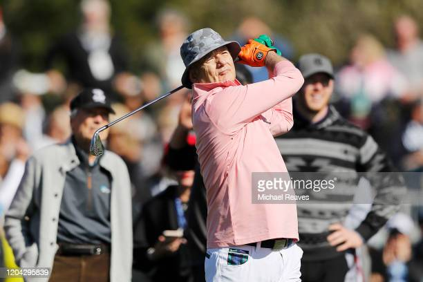 Actor Bill Murray plays his shot from the 17th tee during the 3M Celebrity Challenge prior to the ATT Pebble Beach ProAm at Pebble Beach Golf Links...