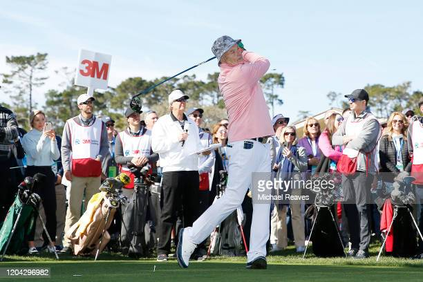 Actor Bill Murray plays his shot from the first tee during the 3M Celebrity Challenge prior to the ATT Pebble Beach ProAm at Pebble Beach Golf Links...