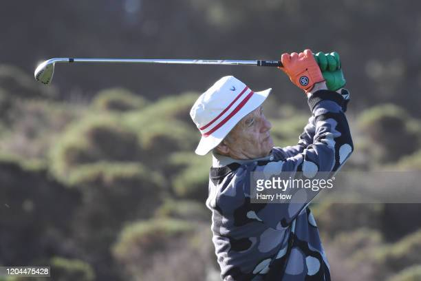 Actor Bill Murray plays his shot from the third tee during the during the first round of the ATT Pebble Beach ProAm at Spyglass Hill Golf Course on...