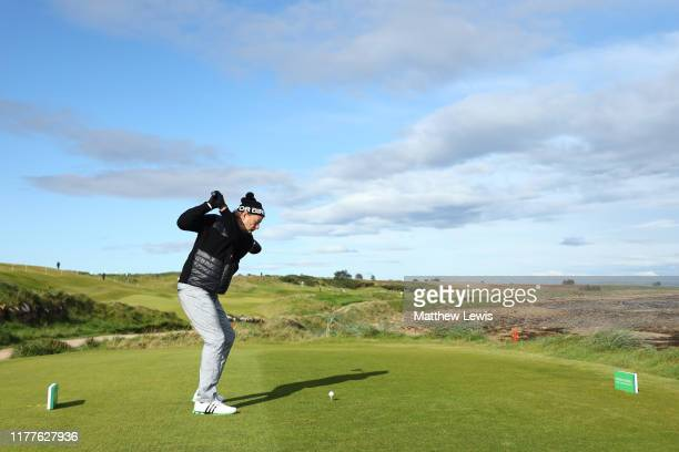 Actor Bill Murray plays tees off on the 3rd hole during Day three of the Alfred Dunhill Links Championship at Kingsbarns Golf Links on September 28...