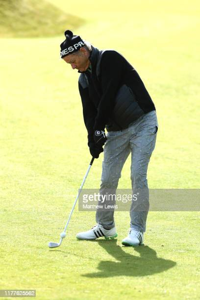Actor Bill Murray plays their second shot on the 3rd hole during Day three of the Alfred Dunhill Links Championship at Kingsbarns Golf Links on...
