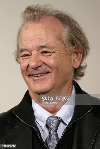 """Actor Bill Murray poses in front of the painting 'Cupid Complaining to Venus' by Lucas Cranach the Elder as he attends a photocall for """"The Monuments..."""
