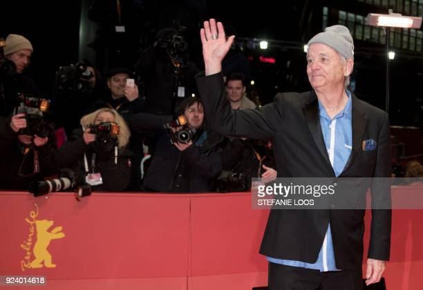 US actor Bill Murray poses on the red carpet before the awards ceremony of the 68th edition of the Berlinale film festival on February 24 2018 in...