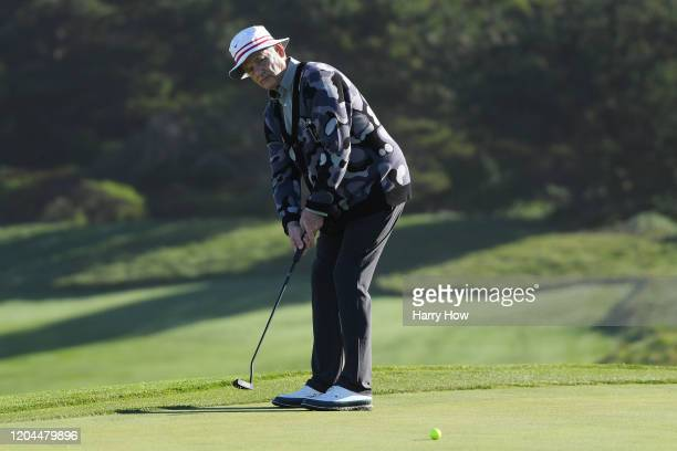 Actor Bill Murray putts on the second green during the during the first round of the ATT Pebble Beach ProAm at Spyglass Hill Golf Course on February...