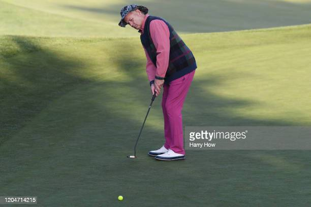 Actor Bill Murray putts on the tenth green during the second round of the ATT Pebble Beach ProAm at Monterey Peninsula Country Club on February 07...