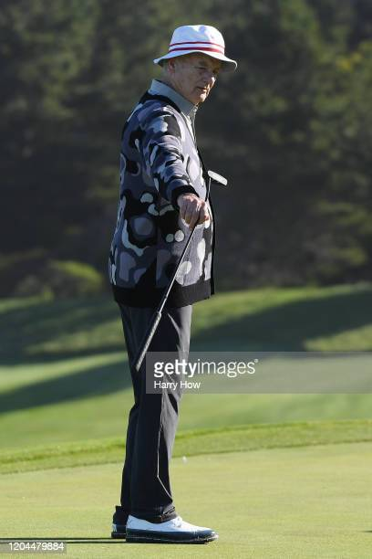 Actor Bill Murray reacts after putt on the second green during the during the first round of the ATT Pebble Beach ProAm at Spyglass Hill Golf Course...