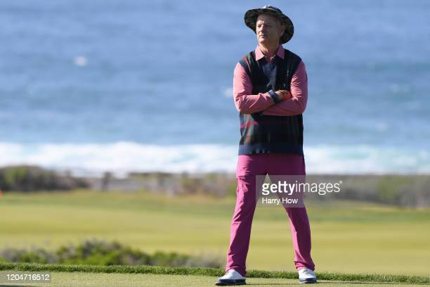 Actor Bill Murray reacts during the second round of the ATT Pebble Beach ProAm at Monterey Peninsula Country Club on February 07 2020 in Pebble Beach...