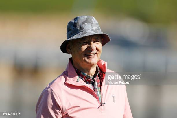 Actor Bill Murray reacts on the 17th hole during the 3M Celebrity Challenge prior to the ATT Pebble Beach ProAm at Pebble Beach Golf Links on...