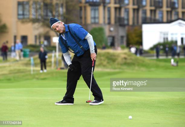 Actor Bill Murray reacts to his putt on the 17th during Day one of the Alfred Dunhill Links Championship at The Old Course on September 26 2019 in St...