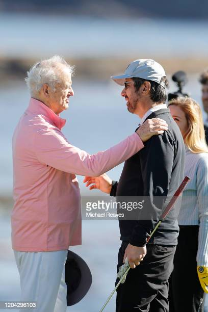 Actor Bill Murray shakes hands with actor Ray Romano after the 3M Celebrity Challenge prior to the ATT Pebble Beach ProAm at Pebble Beach Golf Links...