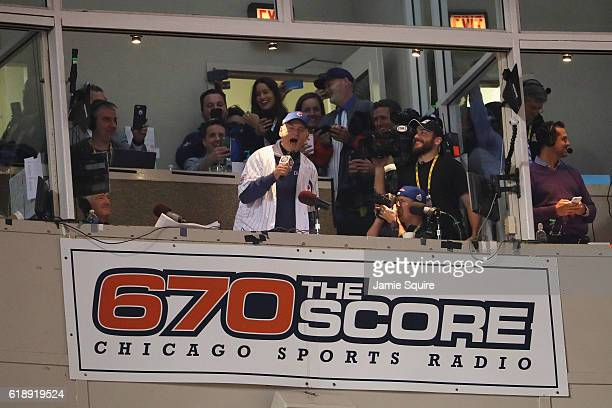 "Actor Bill Murray sings ""Take Me Out to the Ballgame"" in the seventh inning in Game Three of the 2016 World Series between the Chicago Cubs and the..."