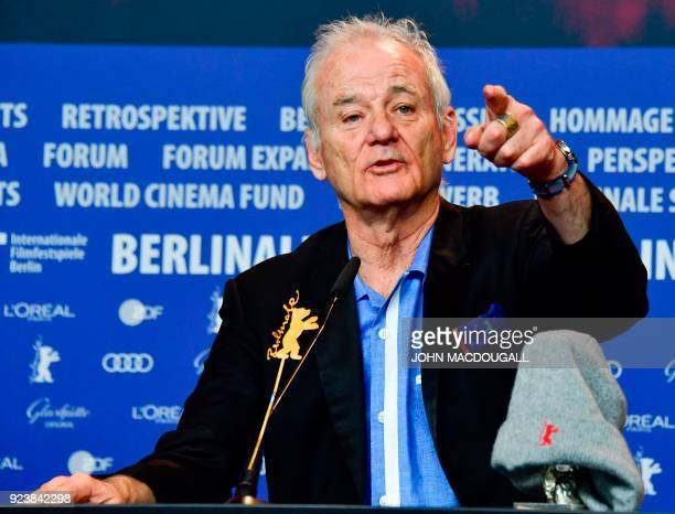 US actor Bill Murray speaks during a press conference following the awards ceremony of the 68th edition of the Berlinale film festival on February 24...