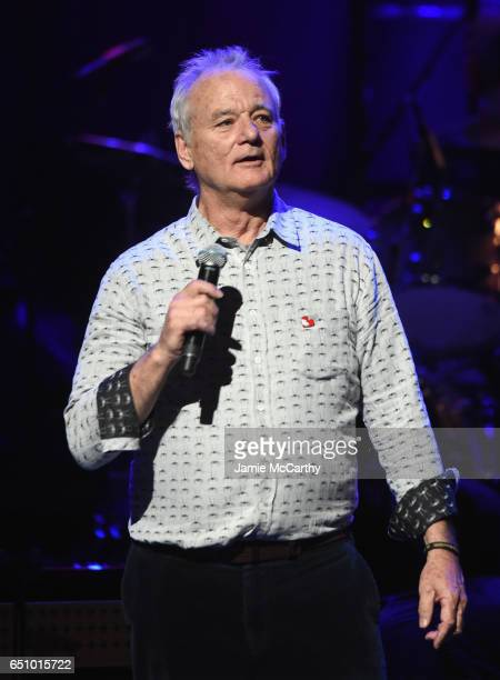 Actor Bill Murray speaks onstage during 'Love Rocks NYC A Change is Gonna Come Celebrating Songs of Peace Love and Hope' A Benefit Concert for God's...