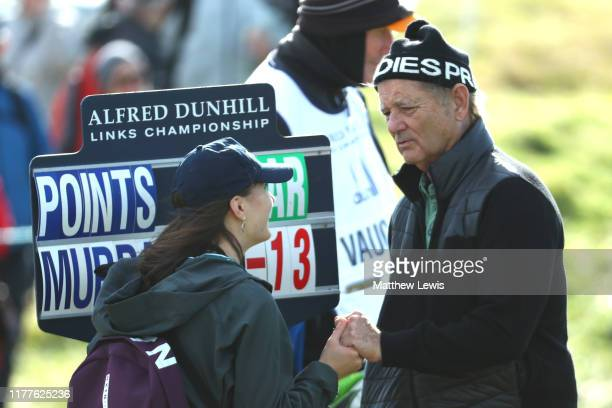 Actor Bill Murray speaks with a scorer on the 4th hole during Day three of the Alfred Dunhill Links Championship at Kingsbarns Golf Links on...