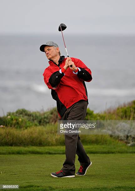 Actor Bill Murray tees off on during the first round of the ATT Pebble Beach National ProAm at Monterey Peninsula Country Club on February 11 2010 in...