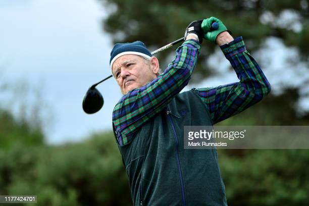 Actor Bill Murray tees off on the 14th hole during Day two of the Alfred Dunhill Links Championship at Carnoustie Golf Links on September 27 2019 in...