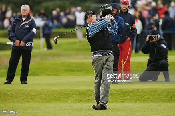 Actor Bill Murray tees off on the 18th hole during the Third Round of The Alfred Dunhill Links Championship at Carnoustie Golf Club on October 7 2006...
