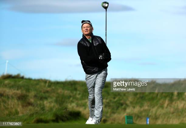 Actor Bill Murray tees off on the 4th hole during Day three of the Alfred Dunhill Links Championship at Kingsbarns Golf Links on September 28 2019 in...
