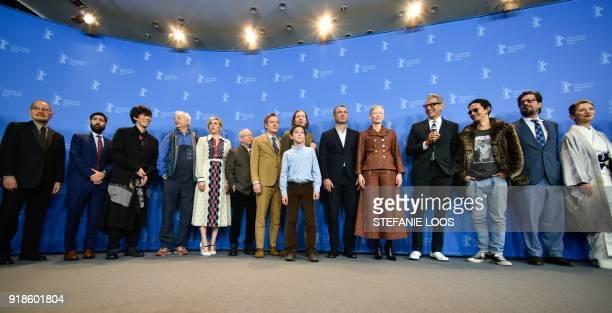 US actor Bill Murray US actress Greta Gerwig US director Wes Anderson US actor Liev Schreiber British actress Tilda Swinton and US actor Jeff...