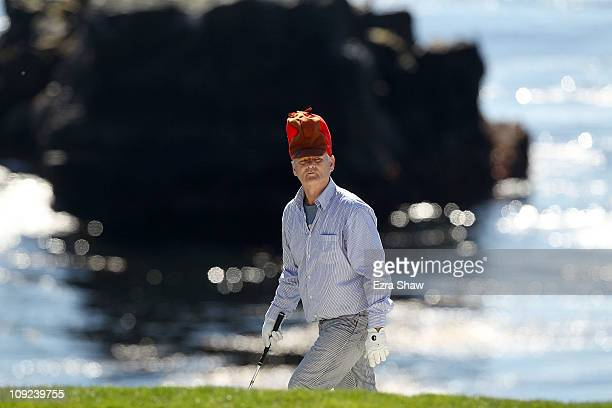 Actor Bill Murray waits to hit on the 8th hole during the third round of the ATT Pebble Beach National ProAm at the Pebble Beach Golf Links on...