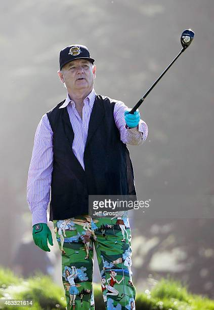 Actor Bill Murray waits to play a shot during the first round of the ATT Pebble Beach National ProAm at Monterey Peninsula Country Club on February...