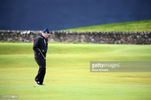 Actor Bill Murray walks onto the 1st green during Day one of the Alfred Dunhill Links Championship at The Old Course on September 26 2019 in St...