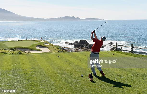 Actor Bill Murray watches his tee shot on the seventh hole during the third round of the ATT Pebble Beach National ProAm at the Pebble Beach Golf...