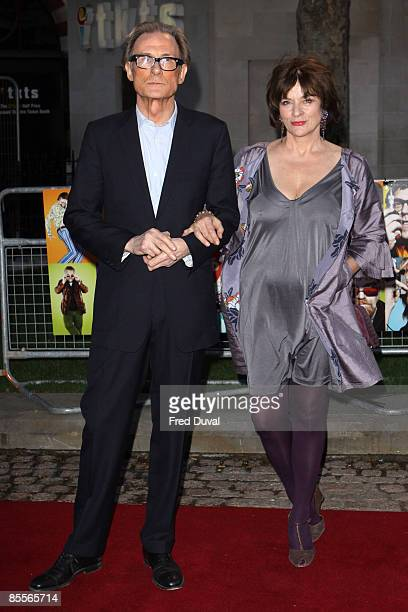 Actor Bill Nighy and wife Diana Quick attends the world premiere of 'The Boat That Rocked' at The Odeon Leicester Square on March 23 2009 in London...