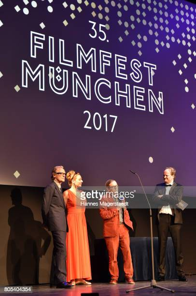 Actor Bill Nighy Diana Iljine and Stephen Woolley during premiere of 'Ihre Beste Stunde' as closing movie of Munich Film Festival 2017 at Gasteig on...