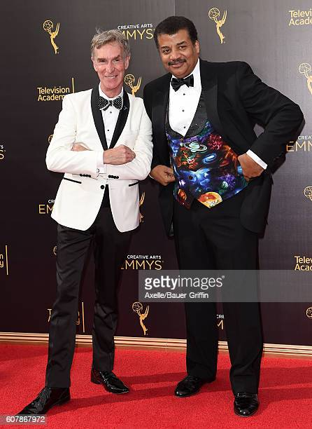 Actor Bill Nye and astrophysicist Neil deGrasse Tyson arrive at the 2016 Creative Arts Emmy Awards at Microsoft Theater on September 11 2016 in Los...