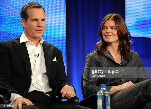 Actor Bill Paxton and actress Jeanne Tripplehorn speak during HBO's 2009 Winter Television Critics Association Press Tour held at the Universal...
