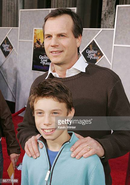 """Actor Bill Paxton and his son James pose at the premiere of Disney's """"The Greatest Game Ever Played"""" at the El Capitan Theater on September 25, 2005..."""