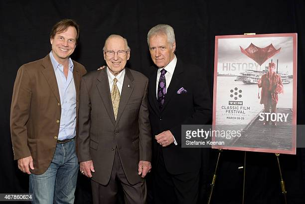 Actor Bill Paxton astronaut Jim Lovell and TV personality Alex Trebek attend the screening of 'Apollo 13' during day two of the 2015 TCM Classic Film...
