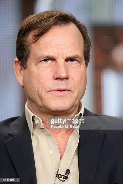 Actor Bill Paxton speaks onstage during the 'Texas Rising' panel at the AE Networks portion of the 2015 Winter Television Critics Association press...