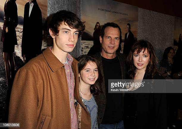 Actor Bill Paxton with wife Louise Paxton children James Paxton and Lydia Paxton arrive at HBO's Big Love Season 5 premiere at Directors Guild of...