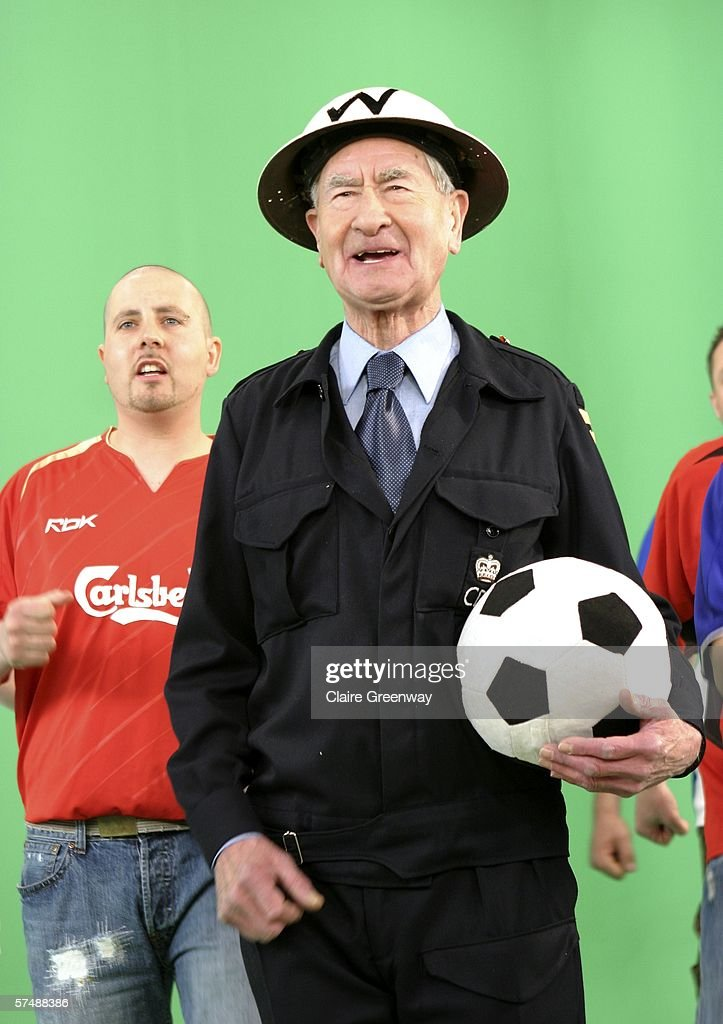 Actor Bill Pertwee is filmed for the video to accompany an England World Cup song 'Who Do You Think You Are Kidding, Jurgen Klinsmann,' at Camden Studios on April 28, 2006 in London, England. British sporting celebrities Sir Geoff Hurst, Frank Bruno and Martin Peters and actor Bill Pertwee join the Tonedef All-Stars at the shoot. The single is due for release on May 29, 2006.