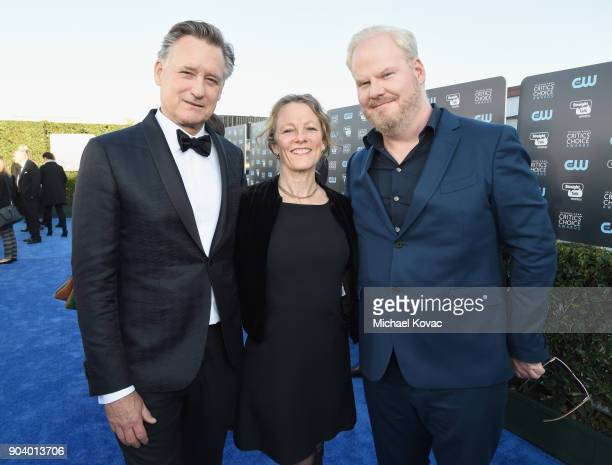 Actor Bill Pullman Tamara Hurwitz and comedian Jim Gaffigan attend Moet Chandon celebrate The 23rd Annual Critics' Choice Awards at Barker Hangar on...