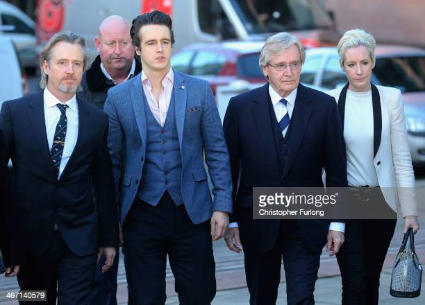 Actor Bill Roache arrives at Preston Crown Court with his sons Linus Roache James Roache and daughter Verity where he is facing trial over historical...