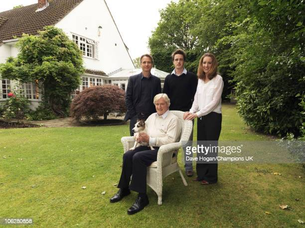 Actor Bill Roache with his children Linus James and Verity pose for a portrait shoot at the actor's home in Wilmslow on July 12 2010