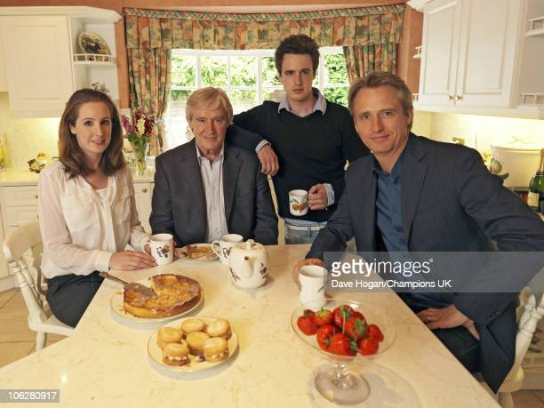 Actor Bill Roache with his children Verity James and Linus pose for a portrait shoot at the actor's home in Wilmslow on July 12 2010