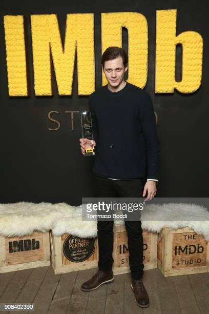 Actor Bill Skarsgard poses with the IMDb STARmeter Award at The IMDb Studio and The IMDb Show on Location at The Sundance Film Festival on January 21...