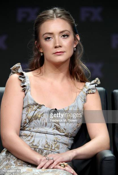Actor Billie Lourd speaks onstage at the 'American Horror Story Apocalypse' panel during the FX Network portion of the Summer 2018 TCA Press Tour at...