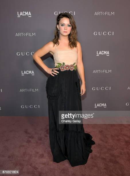 Actor Billie Lourd wearing Gucci attends the 2017 LACMA Art Film Gala Honoring Mark Bradford and George Lucas presented by Gucci at LACMA on November...