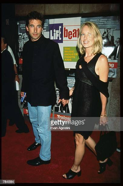 Actor Billy Baldwin and wife Chynna Phillips attend the premiere of Trainspotting July 15 1996 in New York City This British film received a 1997...