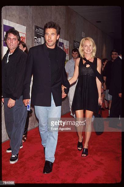 Actor Billy Baldwin walks with wife Chynna Phillips at the premiere of Trainspotting July 15 1996 in New York City This British film received a 1997...